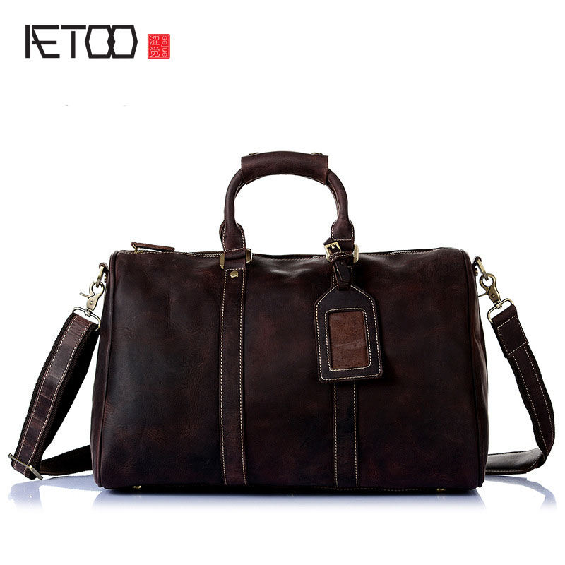 AETOO Europe and the United States selling mad horse leather men's hand bag head layer of leather shoulder diagonal package full the power of benefits selling