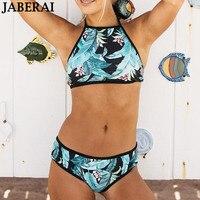 JABERAI Halter Top High Neck Bikini Set Women Swimwear 2018 Brazilian Bikini Green Print Summer Bathing