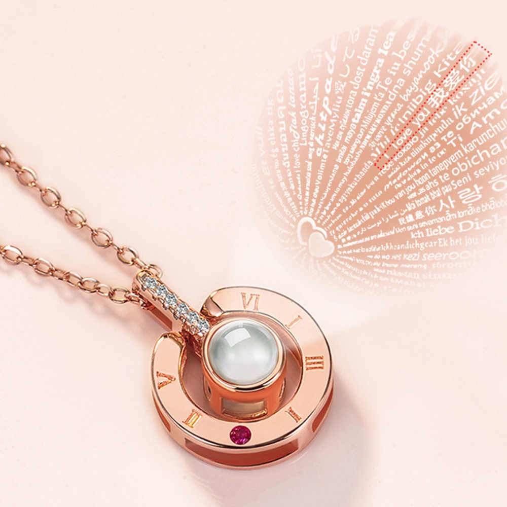 Exquisite Gift Woman Romantic Love SMS I Love You Baiyu Projection Pendant Necklace