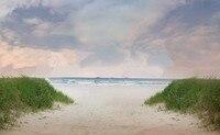 Blauen Ozean Strand sand grün gras wolken hintergründe Hohe qualität Computer print kinder kinder foto hintergrund