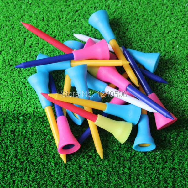 Free Shipping 100 Pcs/bag Multi Color Plastic Golf Tees3 2/7 83mm Durable Rubber Cushion Top Golf Tee