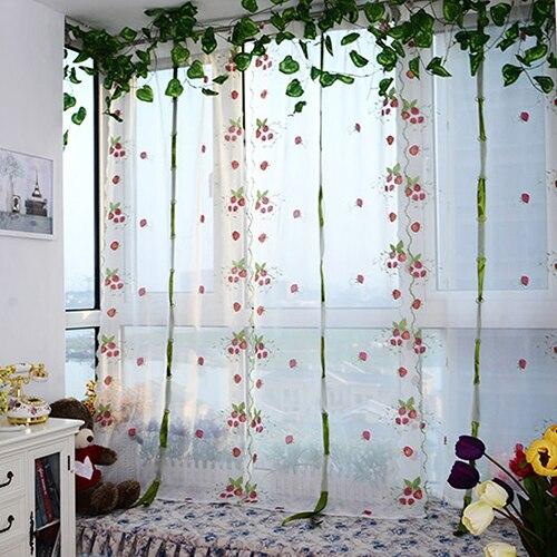 Süß Bestickt Erdbeere Tüll Fenster-bildschirm Tür Balkon Vorhang Sheer 10wg Gut FüR Energie Und Die Milz Haus & Garten