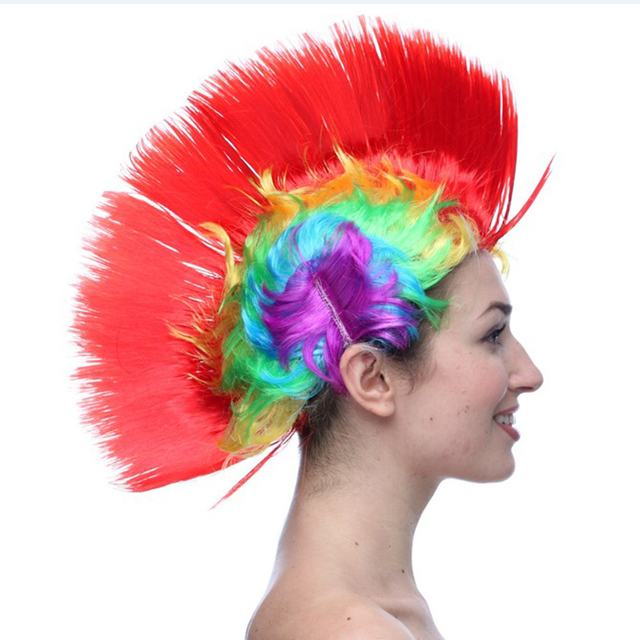 LED Light Up Mohawk Wig Mohican Hairstyle Christmas Halloween Wigs ...