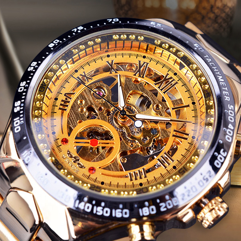 Fashion Men Mechanical Watch Winner Brand Luxury Golden Steel Band Automatic Classic Skeleton Wristwatch luxury brand golden winner luminous automatic mechanical skeleton dial watch mens stainless steel bracelet band men wristwatch