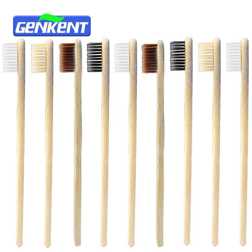 Genkent 10 pcs Low-carbon Verde Natural Novidade Madeira de Bambu Escova De Dentes Escova de Dentes Escova de Cerdas Macias escova de Dentes Higiene Oral 4 cores
