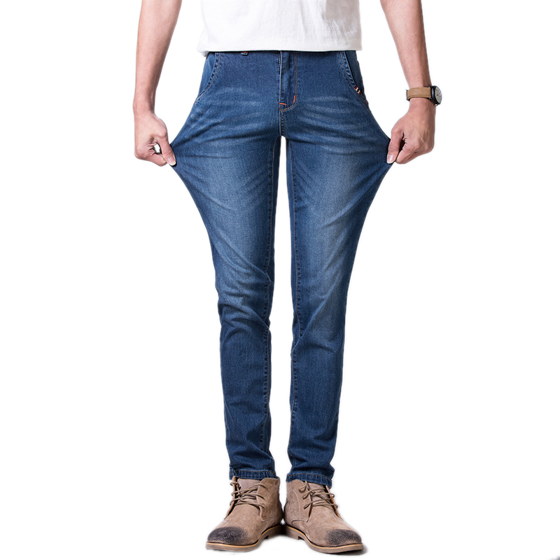 Men High Quality Button Slim Jeans Male Stretch Straight Lightweight Pants Casual Comfortable Blue Denim Men Jeanswear