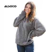 ALSOTO Fashion Women Sweatshirt Solid Color Winter Warm Pullover Female Clothing Loose Short Fleece Vintage Zipper Sweatshirts