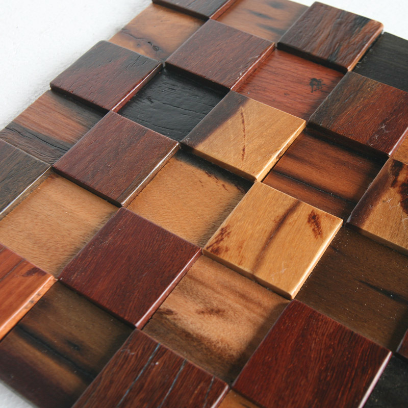 Ship Wood Solid Wood Mosaic Wall Wall Decoration Materials HMWM - Bathroom floor materials