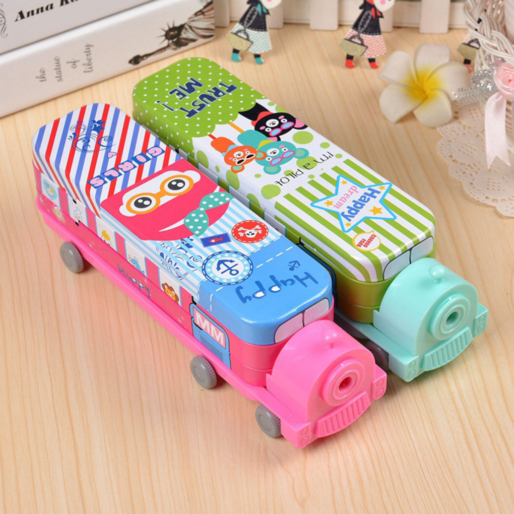 1pc Color Random Cartoon Animal Train Shape Metal Plastic Two Layer Pencil Case Pen Box with Sharpener Kids Gift School Supplies кпб с 219