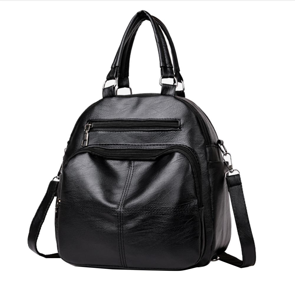 Fashion Women Solid Color Soft Leather School Backpack Hand Shoulder Bag Fashion Women Solid Color Soft Leather School Backpack Hand Shoulder Bag