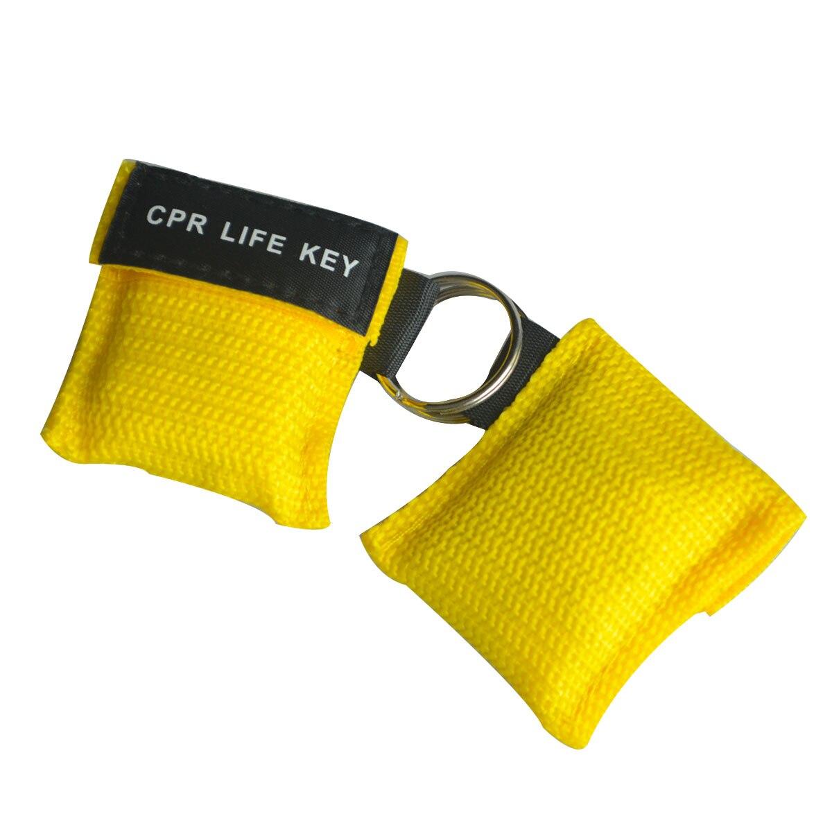 850 pièces masque de premiers soins rcr réanimation rcr porte-clés Kit de sauvetage d'urgence avec Valve à sens unique avec pochette en Nylon jaune