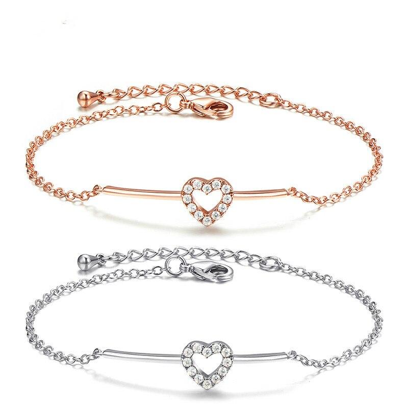 jingyang Lady Romantic Heartbeat Heart Shaped Crystal Bracelet Girls jewelry bracelet jewellery Valentines Day accessories