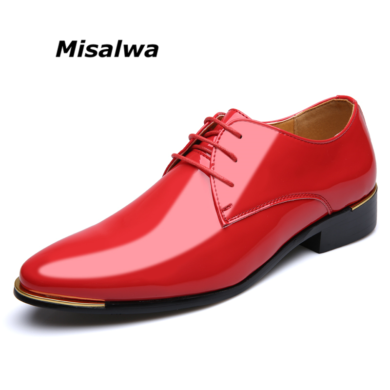 Misalwa Big Size 38-48 Simple Classic Men Luxury Business Shoes Derby Gentleman Honorable Oxford Mens Shoes Red White Men Flats