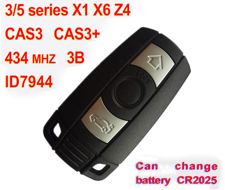 3 Button Smart Key For BMW 3 5 series X1 X6 Z4 With ID7944 Chip 434 Mhz Car Alarm Fob (CAS3 CAS3+)