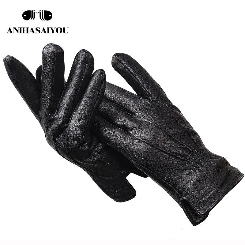 New Fashion Deer Skin Gloves Leather Men's, Warm Brand Genuine Leather Gloves Male Winter,sheepskin Men's Gloves -8048