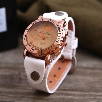 Relojes de mujer de moda números romanos cuero analógico cuarzo reloj  femenino nuevo Kadin Kol Saati Uhren Damen 165c7e239644