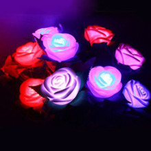 5 Colors Fashion Holiday Lighting  LED Novelty Rose Flower Fairy String Lights Wedding Garden Party Valentine's Day Decoration