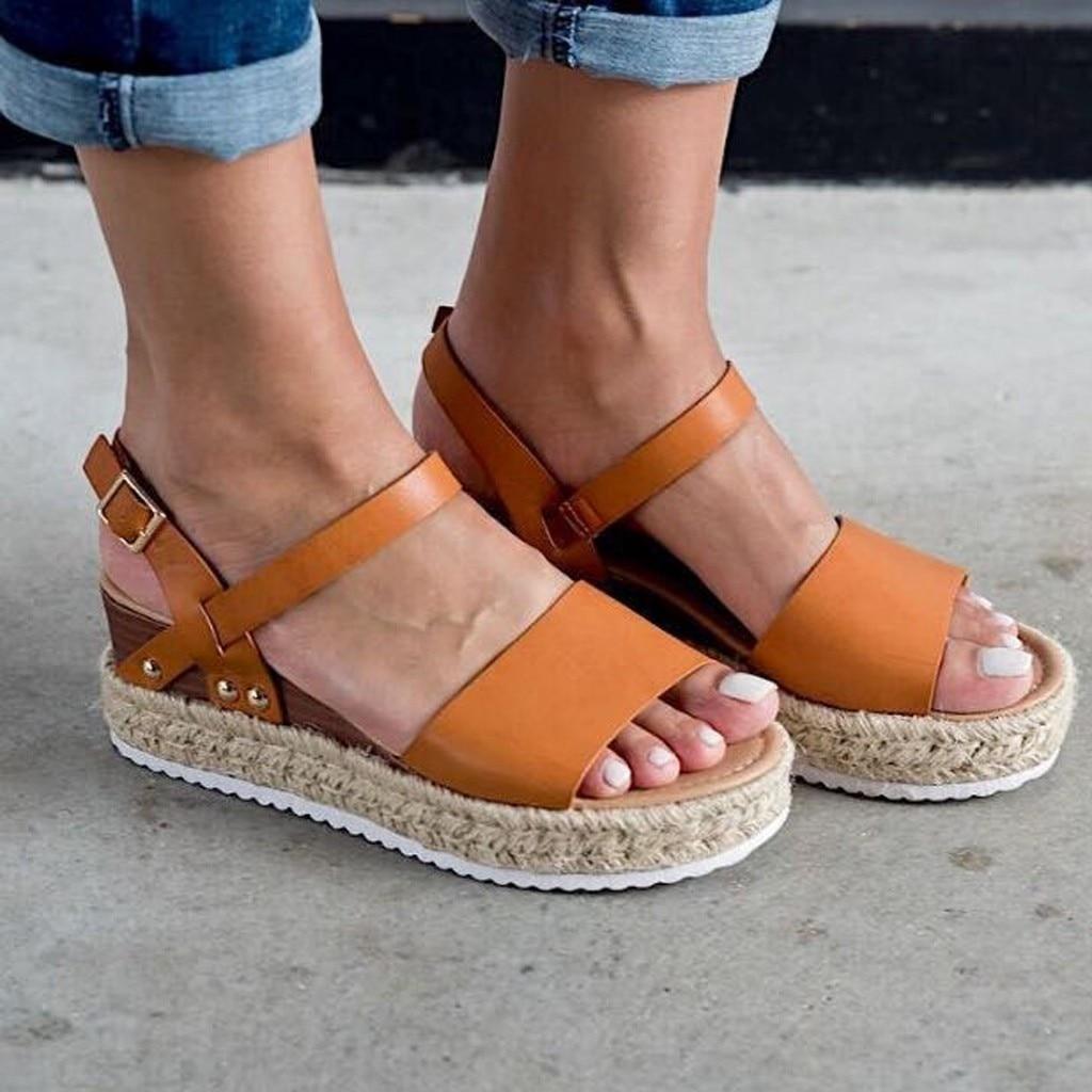 Women Shoes Sandals Buckle-Strap Wedges Platform Femme Peep-Toe Fashion Summer Retro