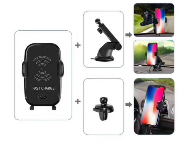 Infrared Sensor Car Wireless Charging Stand for iPhone X 8 plus Multifunctional Mobile Phone Sucker Bracket for HTC Samsung S9/8
