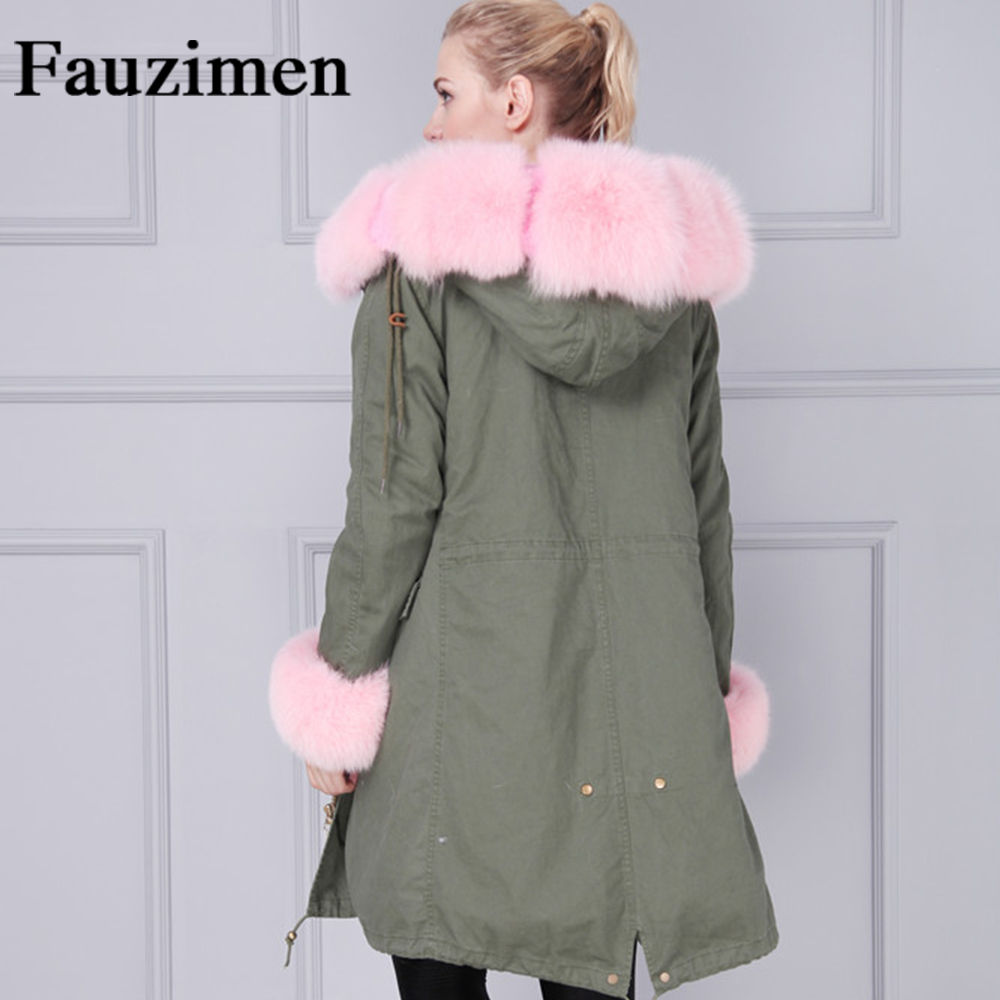 7de38ce8d8c US $262.5 |Khaki Pink Green Long Coat Real Fox Fur Collar Parka Faux Fur  Lined With Hood Winter Jacket Women-in Parkas from Women's Clothing on ...