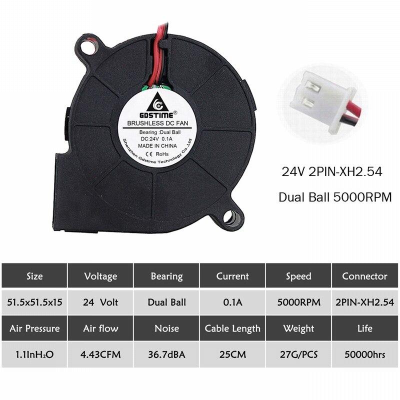 2 шт. Gdstime 5015 50 мм DC 24 в 12 В 5 В 2Pin шариковый/втулка подшипник бесщеточный охлаждения турбины вентилятор 50 мм x 15 мм Вентилятор Кулер - Цвет лезвия: 24V Ball 5000RPM