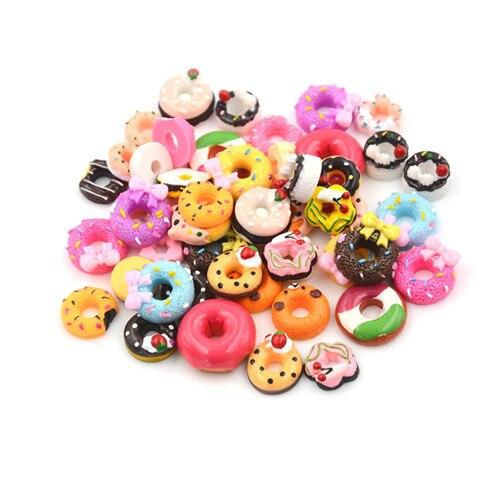 10Pcs Dollhouse Resin Doughnut Food Resign DIY Phone Case Decor Crafts Miniature