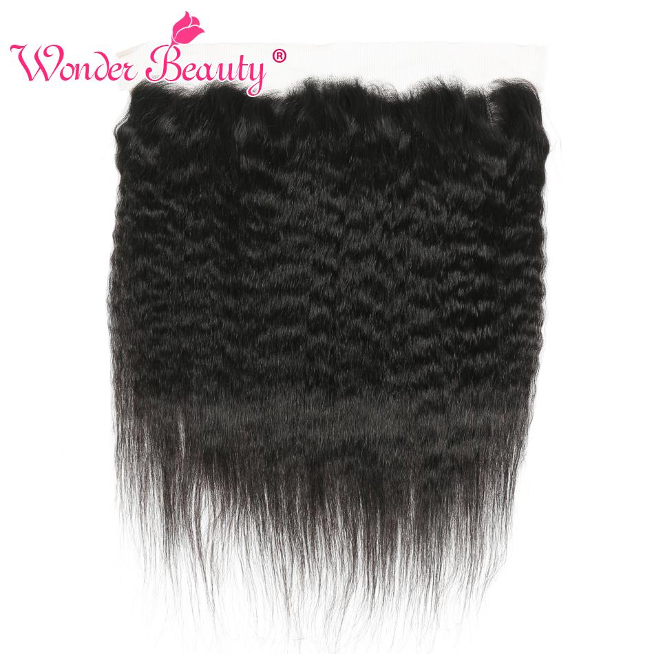 Wonder Beauty Hair Brazilian Kinky Straight lace frontal closure 100% human hair Non Remy Ear to Ear frontal yaki Free <font><b>ship</b></font> image