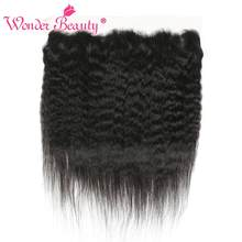Wonder Beauty Hair Brazilian Kinky Straight lace frontal closure 100% human hair Non Remy Ear to Ear frontal yaki Free ship(China)