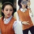 Повседневная новые моды для женщин осень-весна рукавов трикотажные жилет свитер женский свободный пуловер о-образным вырезом топ милые девушки Студент стиль