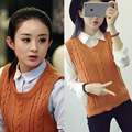 Casual new fashion women autumn spring sleeveless knitted vest sweater female loose pullover o-neck top cute girls Student style