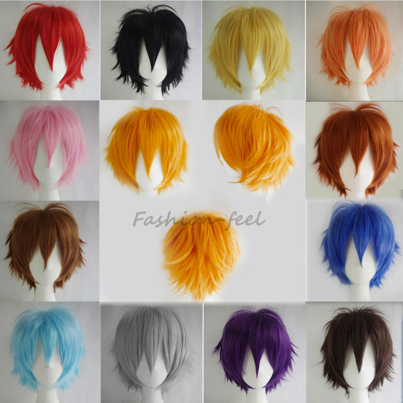100% Super Anime Fashion Short Wig Blue Brown Blonde Women Men Cosplay Costume Party Full Head Wigs High Quality Hair\t