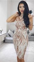 High Quality Celebrity Sleeveless Gold Bodycon Dress Night Club Party Mood Dress L 986