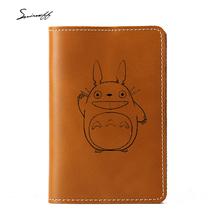 Cartoon Totoro Passport Bag oryginalne skórzane Akcesoria podróżne posiadacze kart kredytowych anime Totoro wygrawerowane paszport okładka tanie tanio Stałe Okładka paszportu Skóra bydlęca 15cm 0 16 kg Oryginalna skórzana okładka paszportu 10 5 cm Pokrowce na paszport
