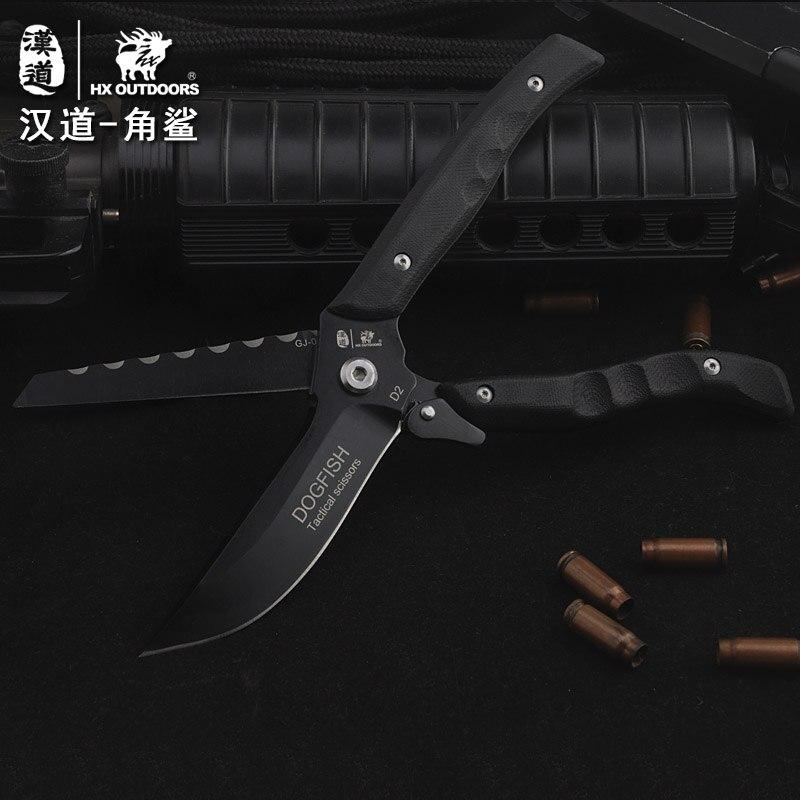 цена на HX OUTDOORS Angle shark D2 steel high hardness multi-purpose knife and scissors dual field survival scissors knife
