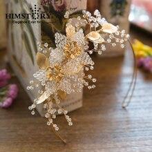 Повязка для волос с золотыми листьями и цветами handmad украшение