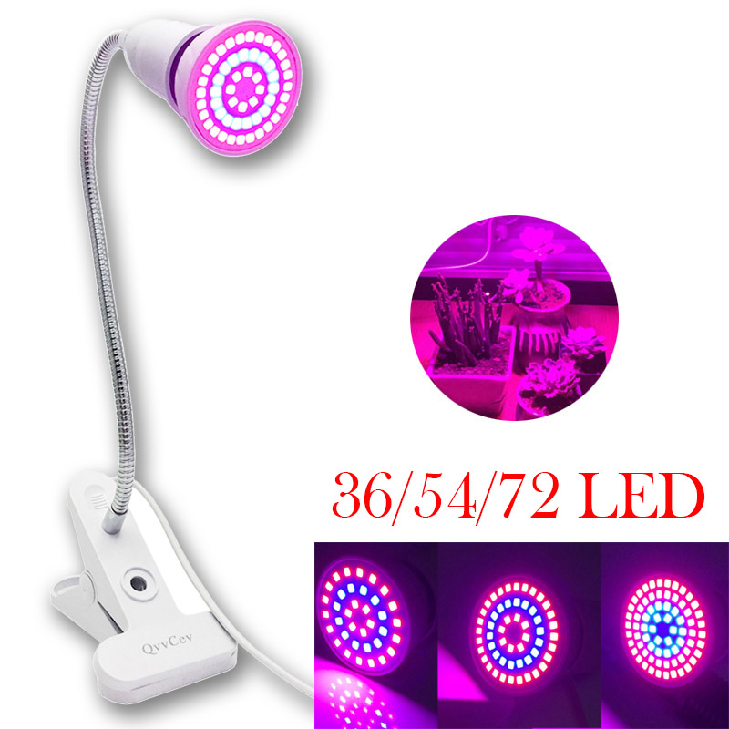 Greenhouse Light Plant LED Grow Lamp 36/54/72 LED Indoor Flower Hydroponics System Growth Bulbs Lights With Desk Holder Clip