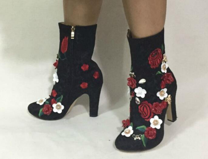 Flowersizme të larta të qëndisura me lule të larta, çizme të - Këpucë për femra - Foto 3