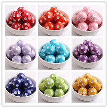 Kwoi Vita Colorful Fashion Jewelry 12mm/14mm/16mm/18mm/ 20mm/24mm Resin Polka Dot Beads for Chunky beads necklace Wholesales