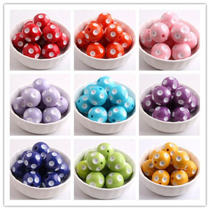 Image 1 - Kwoi Vita Colorful Fashion Jewelry 12mm/14mm/16mm/18mm/ 20mm/24mm Resin Polka Dot Beads for Chunky beads necklace Wholesales
