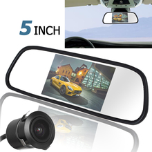 5 Inch TFT LCD Car Rear View Mirror Monitor with 420TVL  18mm Lens Reverse Camera 4 3 tft lcd special car rear view mirror monitor with mp5 player fm function