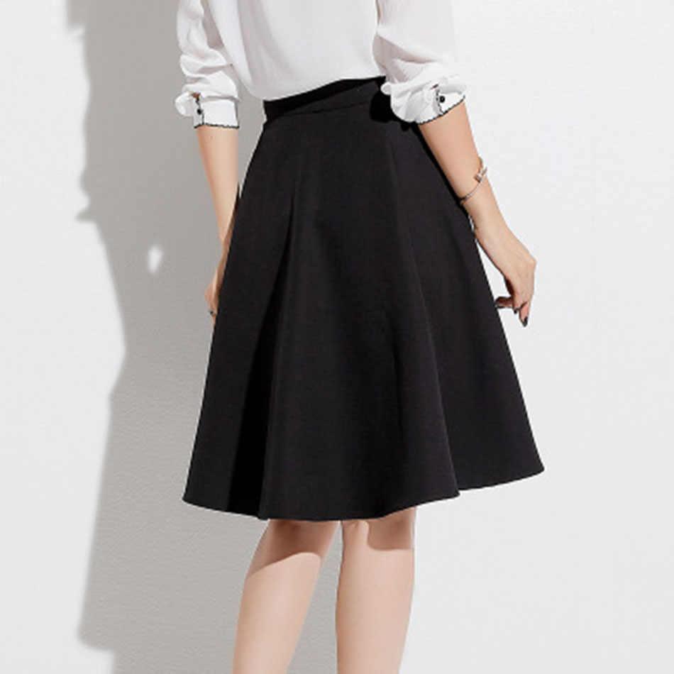 2019 новые весенние юбки с высокой талией в Корейском стиле юбки Харадзюку, Однотонная юбка трапециевидной формы, большие размеры, японская школьная форма, Прямая поставка