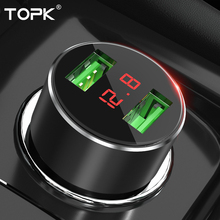 TOPK G209 3.1A 5V Dual USB Car Charger LED Digital Display for iPhone X XR Xs Samsung Xiaomi Fast Phone