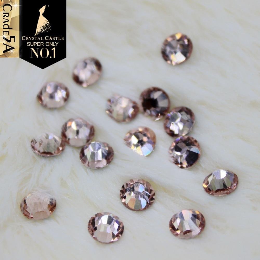 Crystal Castle Leach Peach tërheqëse Elegante Nushe Nushe Nushe Rrathë Flatback Strass Crystal Hotfix Rhinestones për Dress Dasma