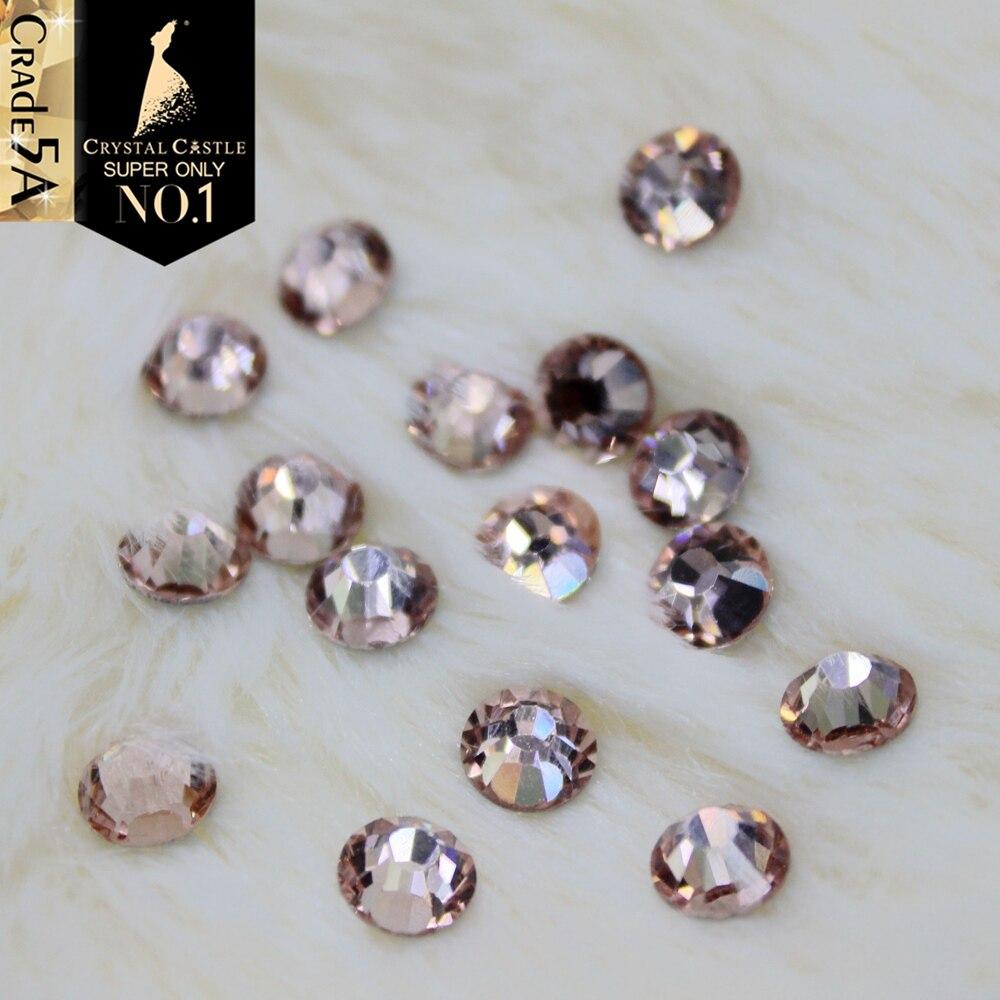 Crystal Castle Light Peach Attractive Elegant Bridal Glass Beads Flatback Strass Crystal Hotfix Rhinestones For Wedding Dress