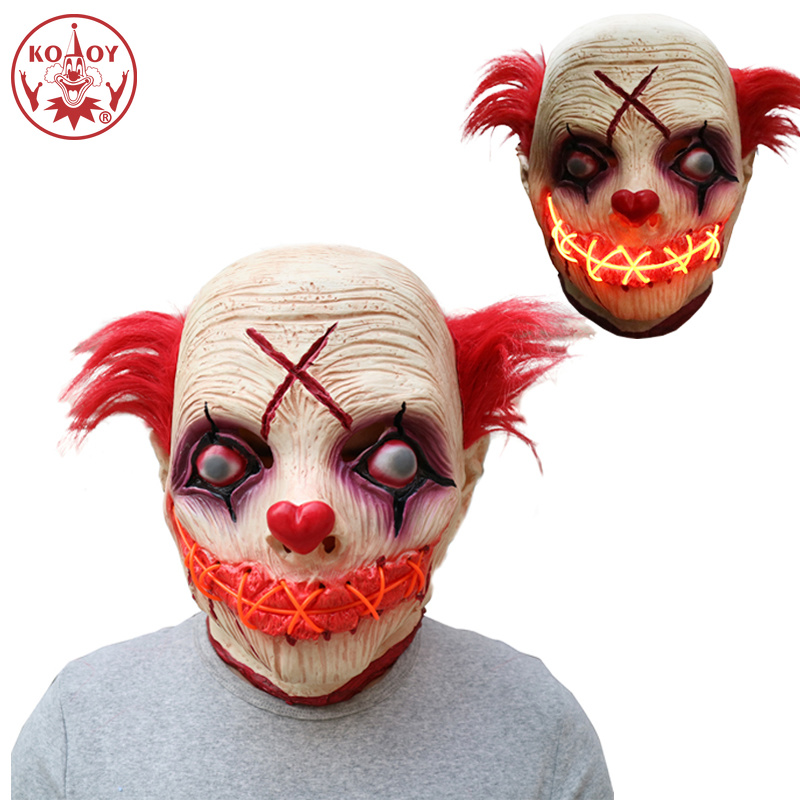New Adult cosplay mask LED Glowing Clown masks Funny Clown horror Headgear Halloween Party Scary joker Latex Mask Cosplay Prop