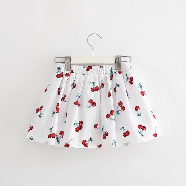 Girls cherry print skirt children summer cotton skirt children's clothing two colors for 2-7T