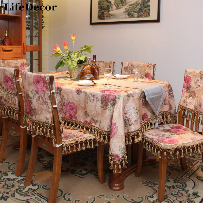 Gold Fashion Classic Coffee Table Cloth Dining Tablecloth Chair Covers