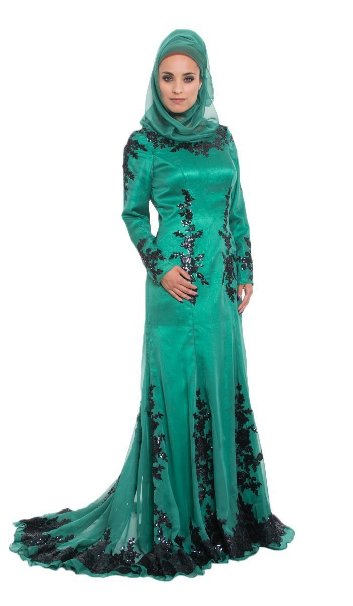 Vestido De Noiva 2016 Long Sleeve Black Lace Emerald Green Abaya ...