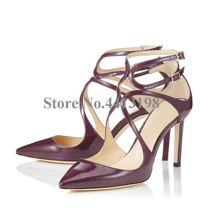 Date Mode De Hauts automne Super Robe Pointu attaché Chaussures Bout Base Solide Printemps Mince Croix Haute Femmes Picture Pompes As Talons r5rxPqgwd