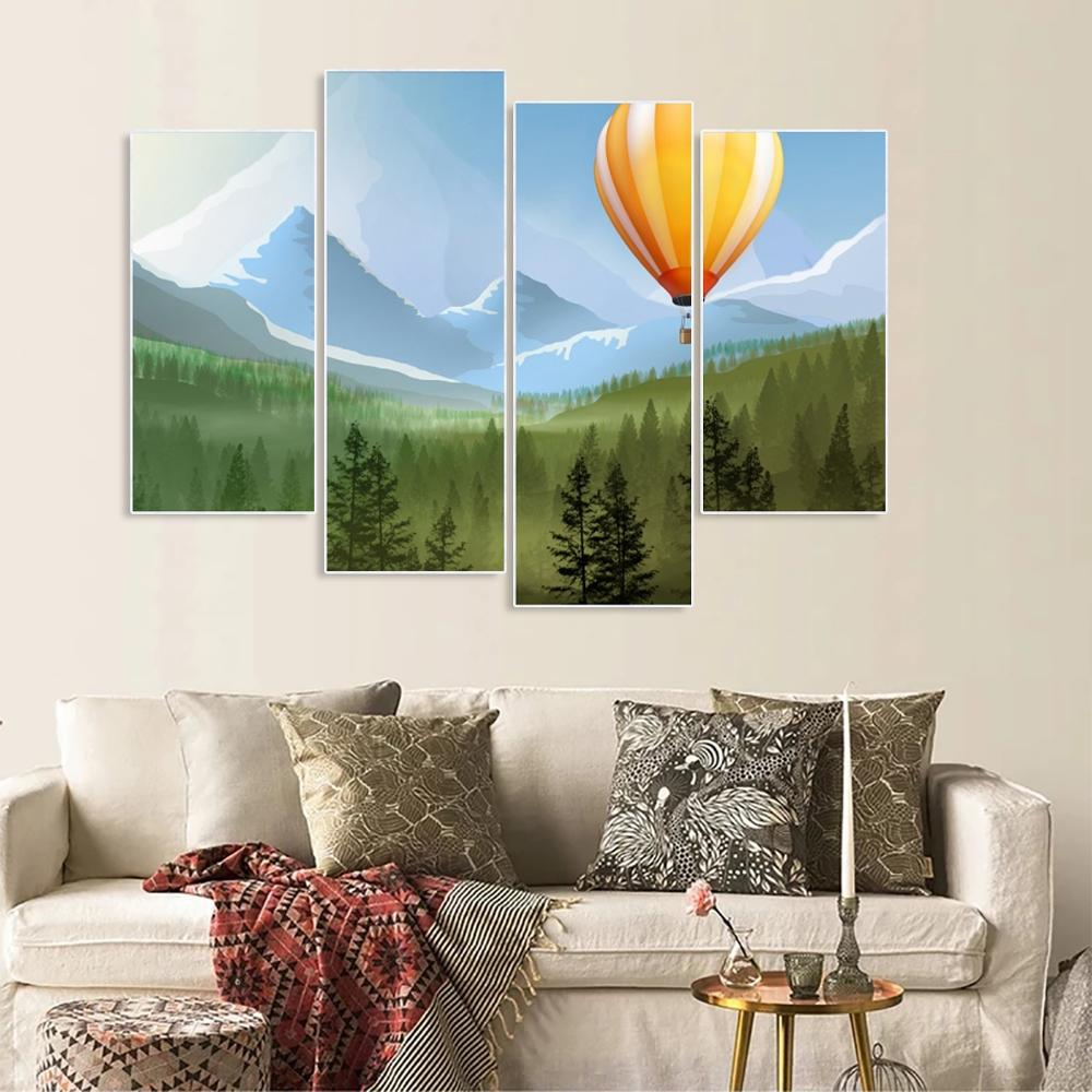 Laeacco Canvas Painting Calligraphy Nordic Hot Air Balloon Posters and Prints Wall Artwork Home Living Room Decoration in Painting Calligraphy from Home Garden